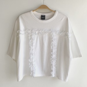 """one-off"" Ruffle T-Shirt (White / White)"
