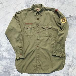 50's BSA ボーイスカウトシャツ コットンポプリン パッチ マチ付 M位 希少 ヴィンテージ