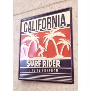 アンティーク調エンボスプレート CALIFORNIA Surf Rider