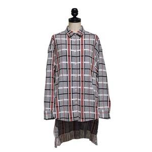 l'A.S / 小チェックドロップシャツ / Red plaid