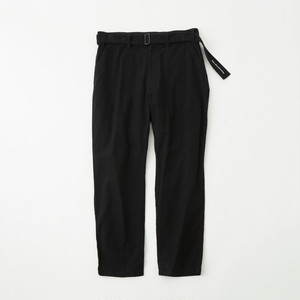 STRETCHED SUEDE TAPERED PANTS - BLACK