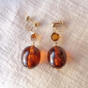 Marble clear ball earring/マーブル クリア ボール イヤリング