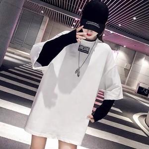 【トップス】韓国系長袖ラウンドネックプルオーバー切り替えTシャツ27379875