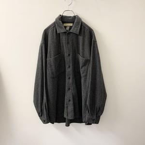 NATURALIFE オーバーサイズ ウールシャツ 2ポケット グレー sizeXL メンズ 古着