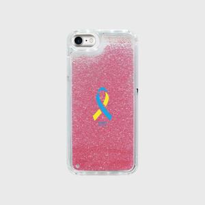iPhone7 グリッター ローズピンク ダウン症候群アウェアネスリボンデザイン