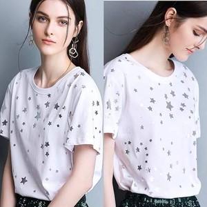 Tシャツ レディース 星 スター お洒落 ホワイト シンプル カジュアル 半袖 夏 大きいサイズ ゆったり 総柄