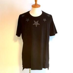 Pentagram Studs Print C/N T-shirts Black