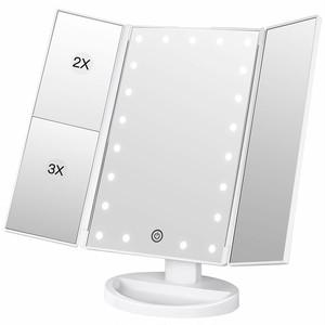 LEDライト付きスタンド三面鏡ミラー