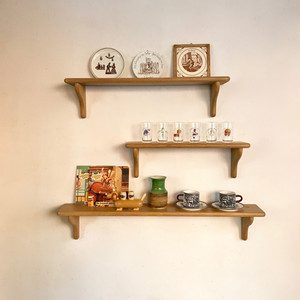 Vintage Oakwood Display Wall Shelf オランダ / Large
