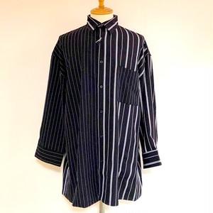Big Silhouette Asymmetry Stripe Shirts Black
