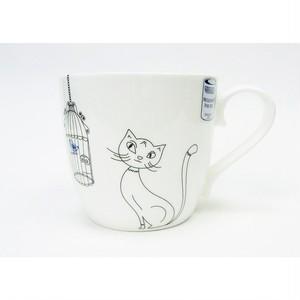 マグカップ ファインボーンチャイナ 猫と鳥 コーニッツ 11-2-057-2298-1902