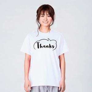 サンキュー 感謝 Tシャツ メンズ レディース おしゃれ かわいい 白 夏 プレゼント 大きいサイズ 綿100% 160 S M L XL