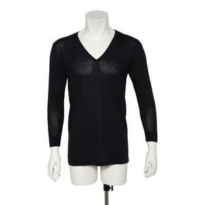 カシミヤ100%Vネック八分袖シャツ ブラック メンズニット 柔らかく暖かい