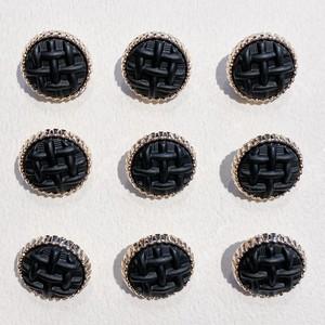 ゴールド縁格子編みマットボタン