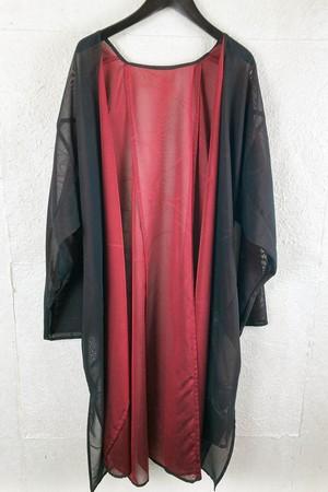 Kuwakkaranoha Vintage kimono Haori くわっからの葉 ビンテージ着物リメイク羽織 紗黒×赤