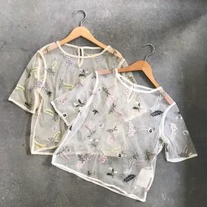 チュール花柄刺繍ブラウス【&mode】