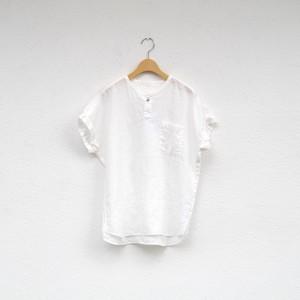 RINEN 60/1リネン平織 フレンチスリーブヘンリーネックシャツ