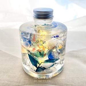 癒されボトル☆ハーバリウム LEDランプ付き☆スタッキングボトル〈カスタムオーダー・ギフトラッピング込〉