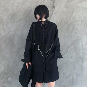 ゴシック系 黒シャツ 長袖  病み可愛い  ストリート系 ユニセックス チェーンストラップ オーバーサイズ 原宿系 オルチャン 10代 20代