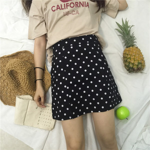 【即納】dot pattern high waist skirt 4836
