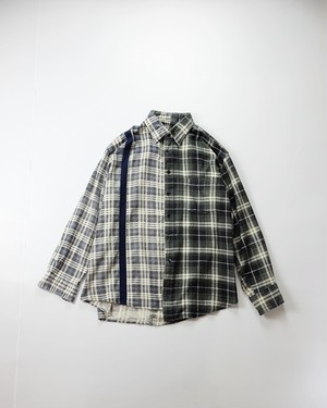 line design switching flannel shirt (blue×green)