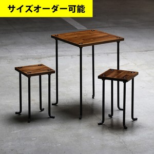 オーダー専用:IRON BAR CAFE TABLE & 2 STOOL SET[BROWN COLOR]テーブル 横65cm × 縦50cm × 高さ70cm
