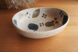 砥部焼/カレー皿(大)/木の葉/森陶房