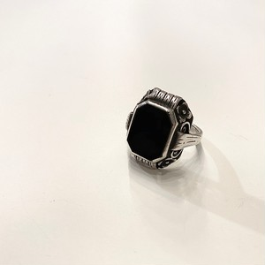 GERMANY antique silver ring -ONYX- (A)