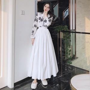 【セット】「単品注文」ファッション長袖Vネックシャツ+スカート26994741