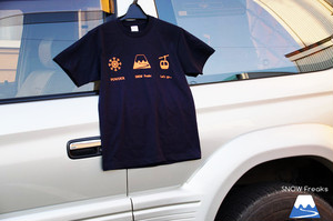 """Let's go"" T-shirts Navy×Orange"