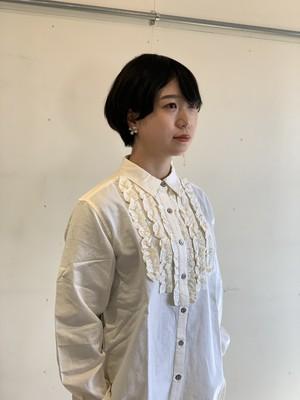 YARRA 綿麻フロントフリルシャツ