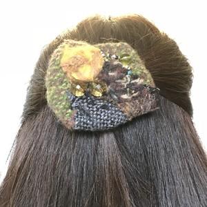 手織りバレッタ1*もこもこヘアアクセ*