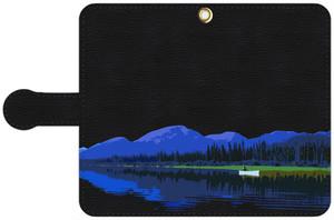 手帳型スマホケース・黒レザー調 Lサイズ カナダ・ユーコン川