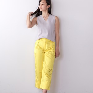 Cotton-Satin Gaucho Pants / YELLOW