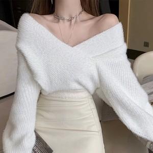 v neck fur knit