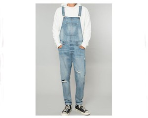 ELWOOD エルウッド EMB024842-437 LIGHT INDIGO DENIM SLIM FIT DESTRUCTED OVERALL オーバーオール