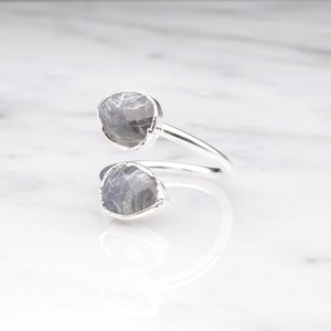 DOUBLE STONE OPEN RING SILVER 025