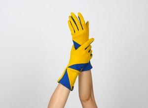 % PERCENT ジャージー 手袋(イエロー・ブルー)女性用・ウール100%・スマホ対応・縫製手袋