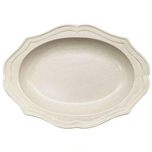 美濃焼 一洋陶園 カードル cadre 楕円 スープ 皿 約27×19cm 白 アイボリー 513-0043