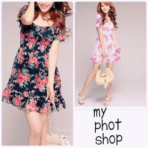 【即納】Flower one-piece Dress