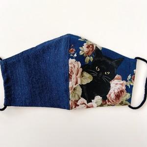《ノーズワイヤー入り立体マスク》黒猫と薔薇⑬紺×紺