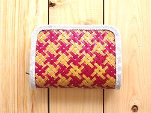 竹と麻の財布・小 四つ目編み漆仕上げ・交色赤白【受注生産】