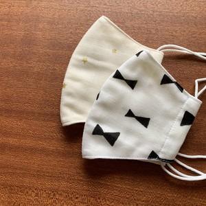 【送料無料】猫とおそろい♩kodomo-mask 布マスク 両面 ダブルガーゼ マスク 2枚セット 子ども用:スター柄&クリーム/リボン柄