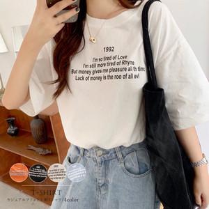 送料無料 カジュアル プリント tシャツ レディース 半袖 ロゴtシャツ シンプル カットソー