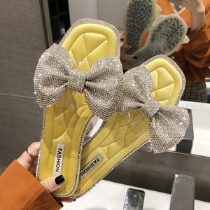 【shoes】キュートラインストーンリボン付きスリッパ