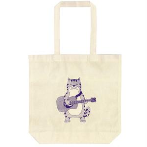 【エコトートバッグ】ネコおっさん アコースティックギター