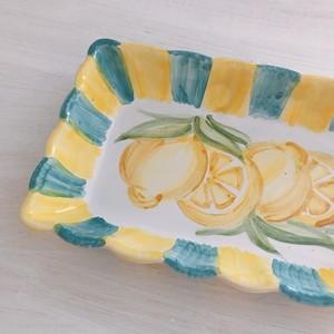 マヨリカ焼き スクエア皿 中 レモン柄