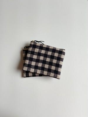手織りミニポーチ ギンガムチェック(HAND WOVEN POUCH 14cm gingham check )