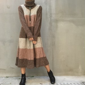 70's Mohair multi border dress