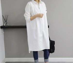 ホワイト★ロングシャツワンピース